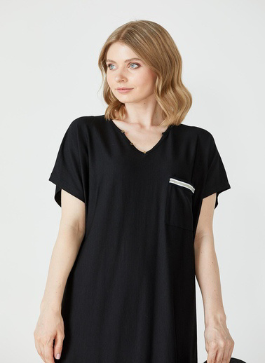 Sementa Büyük Beden Kadın V Yaka Rahat Kesim Elbise - Siyah Siyah